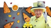 המלכה אליזבת ברקע סקונס חורפיים ליד התה | עיבוד צילום: שולי סונגו