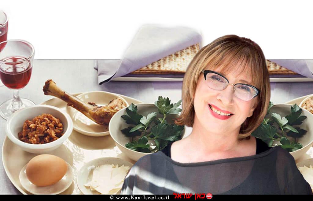 דר' אולגה רז תזונאית קלינית, ברקע הארוחות לחג הפסח | עיבוד צילום: שולי סונגו