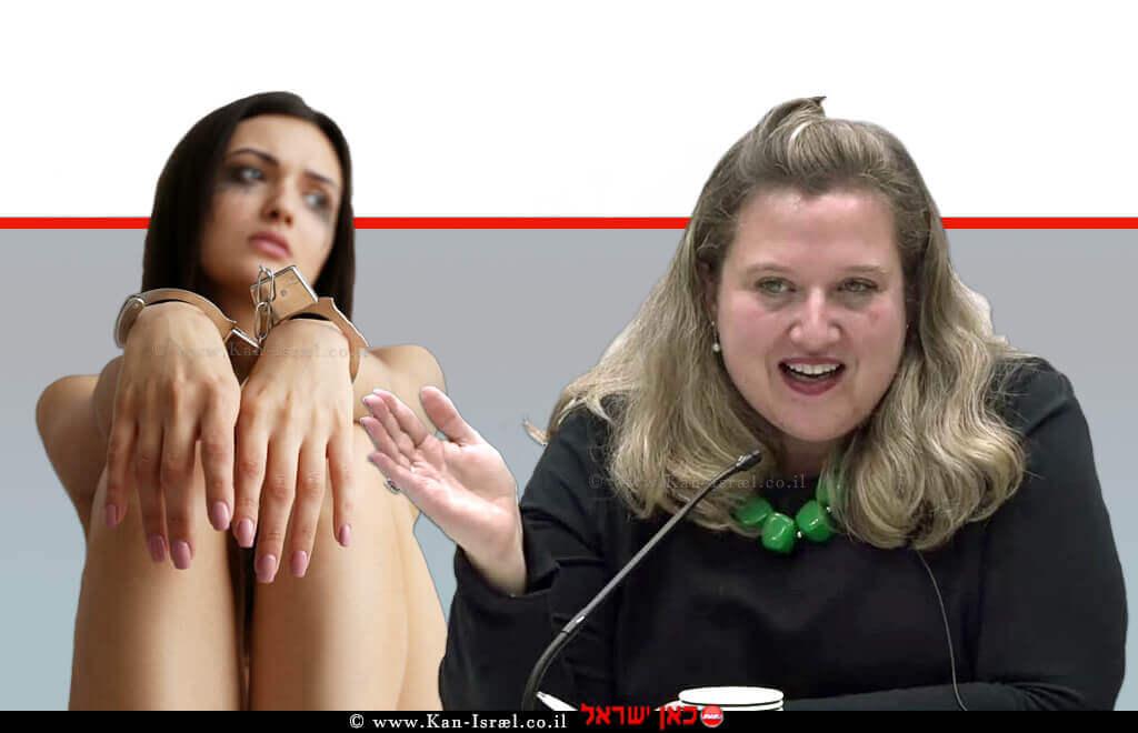 עורכת דין דינה דומיניץ מנהלת היחידה הממשלתית לתיאום המאבק בסחר בבני אדם ברקע: קורבן הסחר |עיבוד צילום: שולי סונגו ©