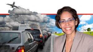 גלי כהן מהחוג לאפידמיולוגיה ורפואה מונעת בפקולטה לרפואה של אוניברסיטת תל אביב ברקע: זיהום אוויר ממקור תחבורתי | עיבוד צילום: שולי סונגו ©