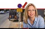 הגר פרי יגור ראש מועצת פרדס חנה-כרכור ברקע תמרור 'איסור חניית כלי רכב למכירה' |עיבוד צילום: שולי סונגו ©