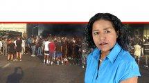 העיתונאית והפעילה חברתית דר' צֶגָה מֶלָקוּ, מהעדה האתיופית, ברקע: הפגנות על הריגת הצעיר מירי שוטר |עיבוד צילום: שולי סונגו ©