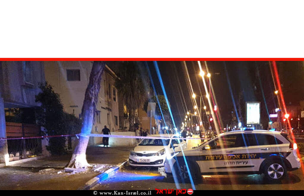 זירת הירי באירוע הלילה של צעיר פלסטיני שוהה בלתי חוקי ברחוב הנשיא במרכז העיר חדרה | צילום: דוברות המשטרה