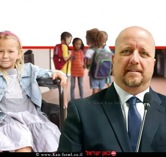 אברמי טורם נציב שוויון זכויות לאנשים עם מוגבלות, ברקע: ילדה עם מוגבלות בבבית ספר | עיבוד צילום ממחושב: שולי סונגו©