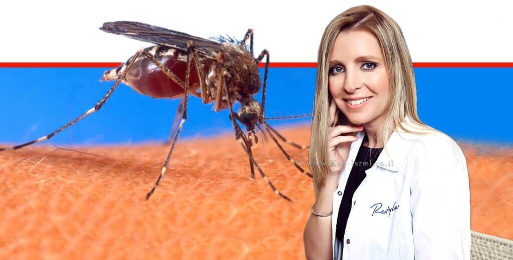דר' להבית אקרמן, מומחית לרפואת העור ברקע: יתוש עוקץ בעור   עיבוד צילום ממחושב: שולי סונגו©