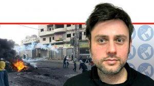 העיתונאי יוסי אלי, כתב ערוץ הטלוויזיה 'חדשות 13' ברקע מהומות התפרעויות בכפר עיסאוויה | עיבוד צילום ממחושב: שולי סונגו©
