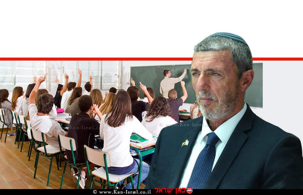 הרב רפי פרץ, שר החינוך | רקע: הדמיית אחת מכיתות בתי הספר העל יסודיים האפקטיביים ביותר | עיבוד צילום ממחושב: שולי סונגו©
