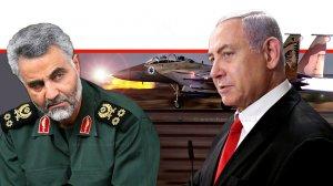 ראש הממשלה ושר הביטחון מר בנימין נתניהו נגד קאסם סולימאני, מפקד כוח קודס האיראני ומיליציות שיעיות ברקע מטוס קרב של חיל-האוויר | עיבוד צילום ממחושב: שולי סונגו©