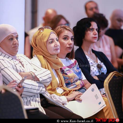 משתתפים בדיון של הכנס הראשון מסוגו שהתמקד בילדים בסיכון בחברה הערבית בחיפה | צילום: דוברות משרד המשפטים | עיבוד צילום ממחושב: שולי סונגו©