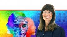 פרופ' נילי כהן נשיאת האקדמיה הלאומית הישראלית למדעים ברקע: מן המוח למחשב ובחזרה | עיבוד צילום ממחושב: שולי סונגו©