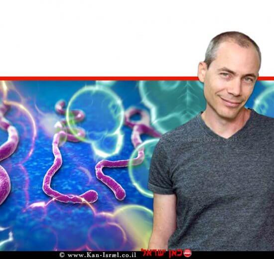 דר' רון דיסקין מן המחלקה לביולוגיה מבנית במכון ויצמן ברקע: נְגִיף אֶבּוֹלָה | צילומים: מכון ויצמן, depositphotos | ISRAEL21c | עיבוד ממחושב: שולי סונגו©