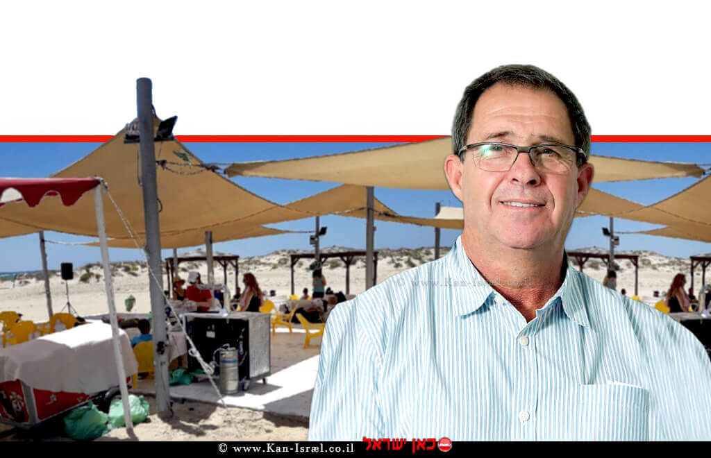 ישראל סקופ, ראש החטיבה לשמירה על הקרקע ברשות מקרקעי ישראל ברקע: אירוע בחוף דור-נַחְשׁוֹלִים | צילום: דוברות רמי | עיבוד ממחושב: שולי סונגו©