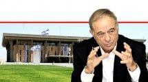 עורך דין אוריאל לין נשיא איגוד לשכות המסחר | ברקע: בניין הכנסת | עיבוד צילום ממחושב: שולי סונגו©