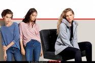 אסתי גינזבורג-קייזמן דוגמנית, שחקנית ומנחה, מדגימה קולקציית חורף 2020 של של אופנת גולברי מעיל, ברקע סריגים ומכנסיים   צילום יניב אדרי   עיבוד ממחושב: שולי סונגו©