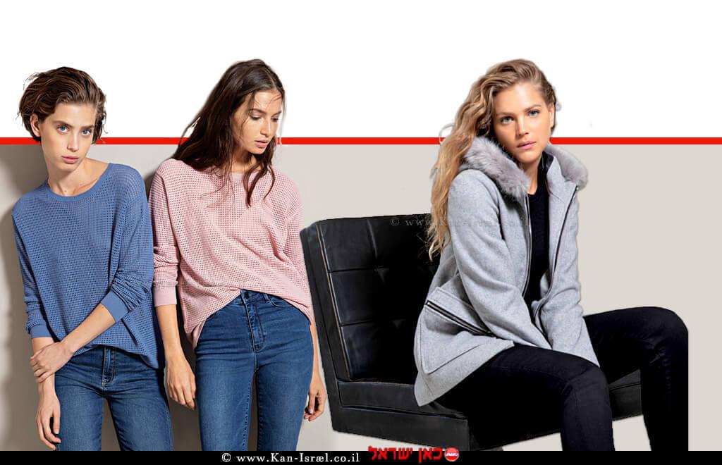 אסתי גינזבורג-קייזמן דוגמנית, שחקנית ומנחה, מדגימה קולקציית חורף 2020 של של אופנת גולברי מעיל, ברקע סריגים ומכנסיים | צילום יניב אדרי | עיבוד ממחושב: שולי סונגו©