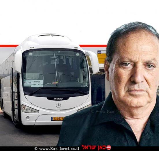 מיכאל (מיכה) מייקסנר מנכל 'רכבת ישראל' ברקע: אוטובוס להסעת חיילים אל עיר הבהדים   צילום: רכבת ישראל   עיבוד ממחושב: שולי סונגו©