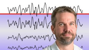 פרופ' אילן דינשטיין המחלקה לפסיכולוגיה וראש המרכז הלאומי לחקר אוטיזם | רקע גלי מוח מוקלטים המצביעים על מצב שינה עמוקה | צילום: אוניברסיטת בן-גוריון | עיבוד ממחושב: שולי סונגו©