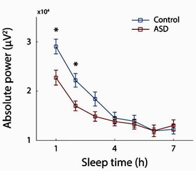 גרף שינה בשעות הראשונות של הלילה ובהמשך הלילה, בשעות בהן השינה נהיית רדודה יותר