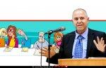 מנכל משרד החינוך, מר שמואל אבואב, ברקע: איור של תלמידים בבחינת בגרות חורף מתמטיקה | עיבוד ממחושב: שולי סונגו©