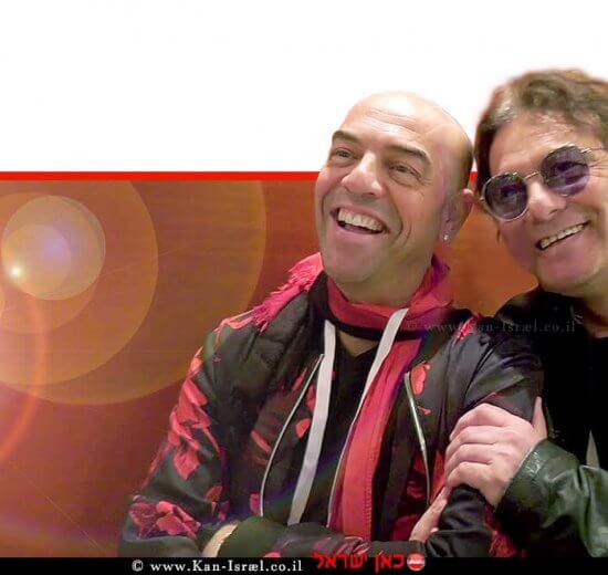 ניק מילר, גיטריסט להקת סטלה מאריס עם פבלו רוזנברג על הבמה בבית חולים 'רמבם' | צילום: פיוטר פליטר, הקריה הרפואית רמבם |עיבוד ממחושב: שולי סונגו©