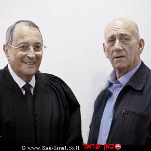 ראש הממשלה לשעבר אהוד אולמרט עם עורך דין אלי זׂהר | צילום מסך: ערוץ 13 | עיבוד ממחושב: שולי סונגו©