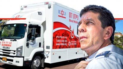 אלי בין מנכל מגן דוד אדום, ברקע: ניידת בנק הדם | צילום דוברות מדא | עיבוד צילום ממחושב: שולי סונגו©