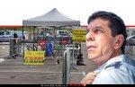 אלי בין מנכל מגן דוד אדום ברקע: 'מתחם היבדק וסע נייד' של מדא בעיר מודיעין | צילום: ישי ראוכברגר, דוברות מדא | עיבוד צילום ממחושב: שולי סונגו©