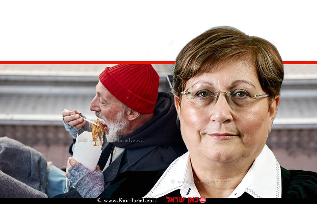 כב' השופטת (בדימוס) שולמית דותן   רקע: איש מבוגר הנזקק לסיוע, אוכל מנת אוכל מהיר   עיבוד צילום ממחושב: שולי סונגו©