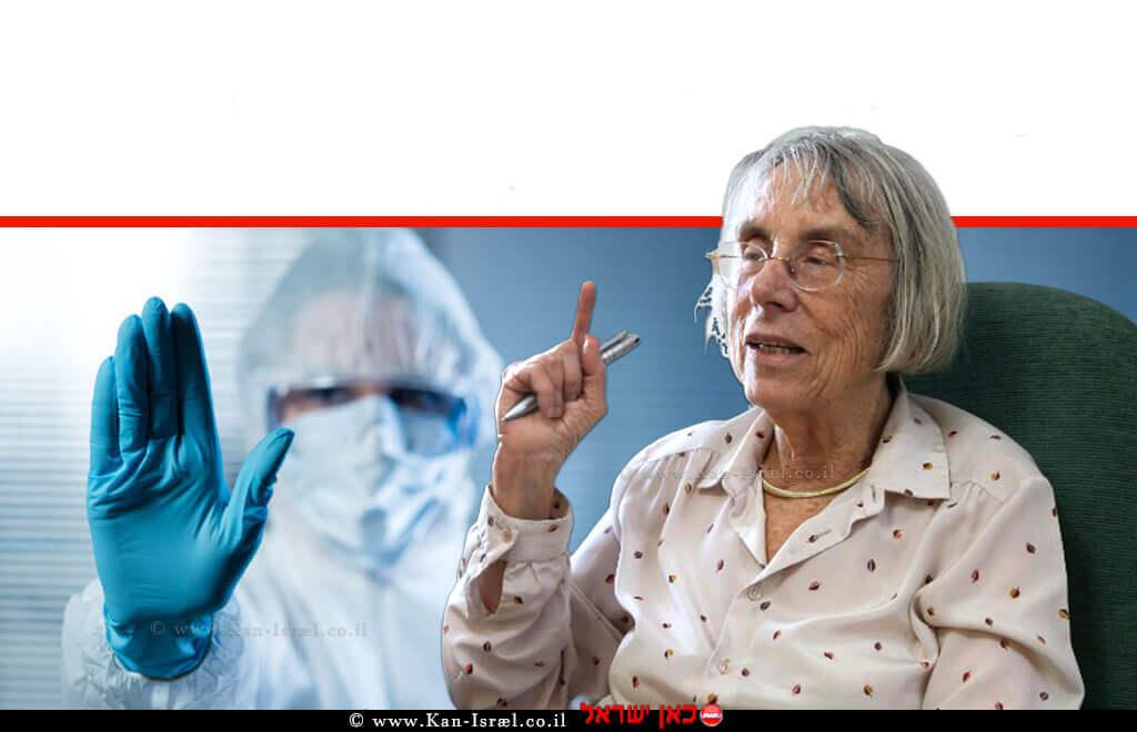 כב' השופטת בית המשפט העליון (בדימוס) דליה דוֹרְנֶר נשיאת מועצת העיתונות, ברקע איש עם מסכה להתגוננות מפני וירוס | עיבוד צילום ממחושב: שולי סונגו©