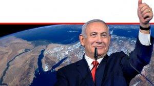 ראש הממשלה מר בנימין נתניהו ברקע: ארץ ישראל מן החלל כפי שצילם האַסטרוֹנָאוּט ג'ף וויליאמס | עיבוד צילום: שולי סונגו ©