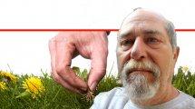 ראובן אורן, מומחה בגינון אורגני | רקע: אישה מְנַכֶּשֶׁת עשבים מזיקים ומנקה זרדים ישנים ונבוּלים בגינה | עיבוד צילום ממחושב: שולי סונגו©