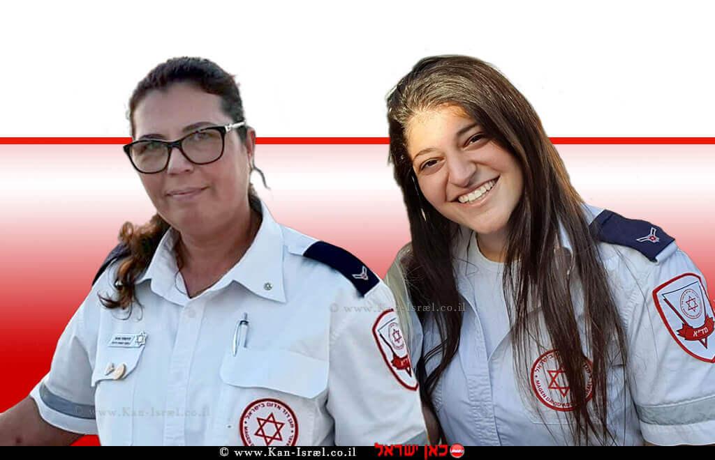 שני צח חובשת רפואת חירום במגן דוד אדם ודניאלה בכש חובשת רפואת חירום במדא | צילום דוברות מדא | עיבוד צילום ממחושב: שולי סונגו©