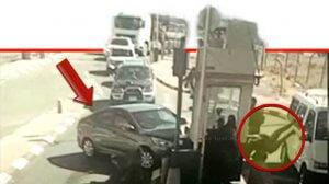 תיעוד רגע הפיגוע הדריסה במחסום הקיוסק באבו דיס ופציעת השוטרת | צילום משטרת ישראל