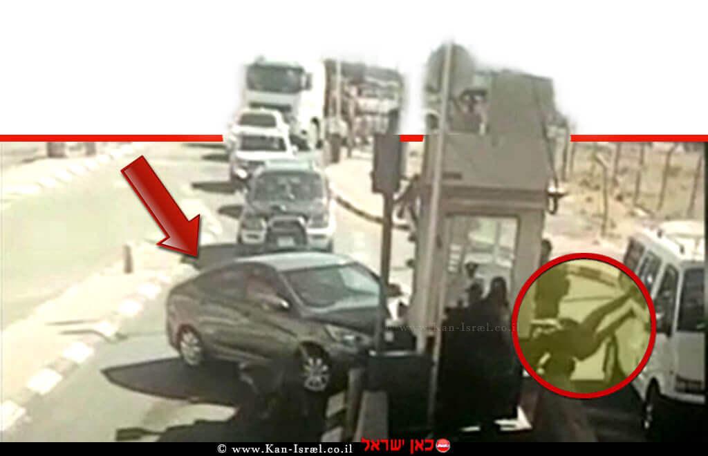 תיעוד רגע הפיגוע הדריסה במחסום הקיוסק באבו דיס ופציעת השוטרת | צילום משטרת ישראל | עיבוד צילום: שולי סונגו ©
