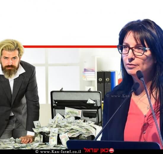דר' שלומית ווגמן–רטנר מנהלת הרשות לאיסור הלבנת הון ומימון טרור במשרד המשפטים, ברקע: איש עם רווחים של כסף לא חוקי | עיבוד צילום: שולי סונגו ©