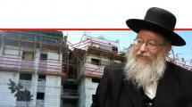 יעקב ליצמן שר הבינוי והשיכון ברקע: בנייני דירות לפני סיום בנייתם | עיבוד צילום: שולי סונגו ©