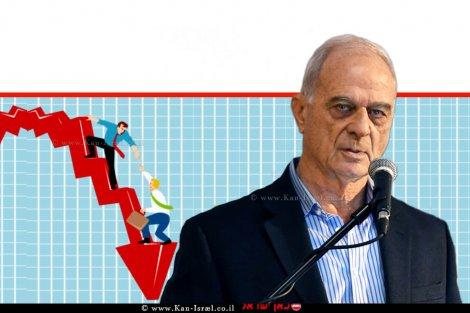 אוריאל לין עורך דין, נשיא לשכת המסחר תל אביב והמרכז ונשיא איגוד לשכות המסחר | רקע: גרף כלכלי לצלילת הכנסות איש עסקים | עיבוד צילום: שולי סונגו ©