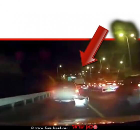 תיעוד המרדף המשטרתי אחר גנב הרכב בישוב גני תקווה בסיומו קפץ החשוד מן הגשר   צילום: דוברות המשטרה