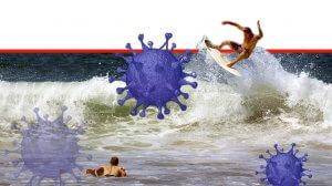 גולש ים ברקע מחלת נגיף קורונה (COVID-19) | עיבוד צילום: שולי סונגו ©