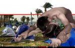 הדמיה של מעשה מגונה בצעירה | ברקע: אוהלים בחוף כינרת | צילום: רשות-הכנרת | עיבוד צילום: שולי סונגו ©