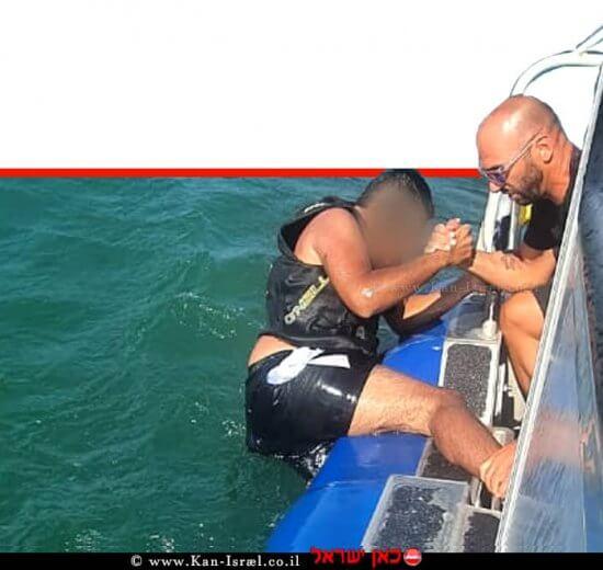 מבצע חילוץ של רוכב אופנוע ים שנפל בכינרת על ידי השיטור הימי של משטרת ישראל   צילום דוברות המשטרה