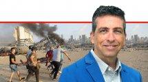 דר' ניר פינק מרצה באוניברסיטת אריאל ברקע פינוי פצוע בעקבות פיצוץ האמניום החנקתי בנמל ביירות   עיבוד צילום: שולי סונגו ©