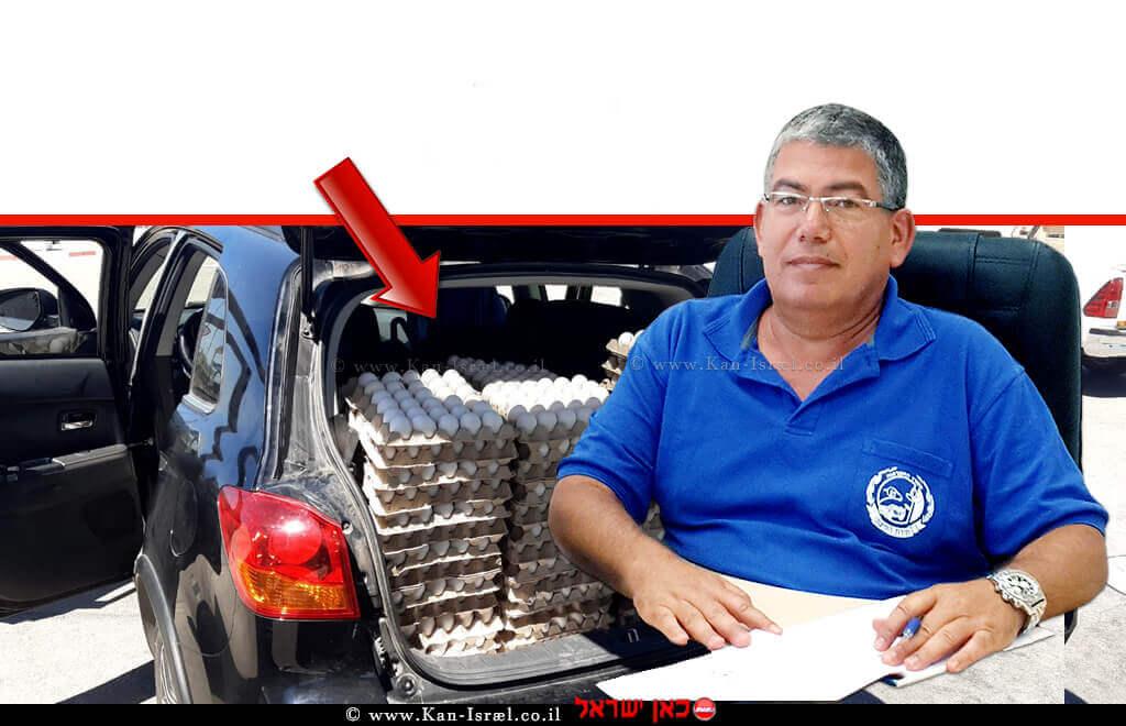 קליגר רואי מנהל היחידה פיקוח על מוצרי הצומח והחי של משרד החקלאות ברקע הברחת 4500 ביצים במכונית שנתפסה   עיבוד צילום: שולי סונגו ©