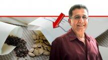 פרופ' עבד גרה ראש אגף הסגר צמחים בשירותים להגנת הצומח ולביקורת במשרד החקלאות | רקע: הדמייה של זרעים | עיבוד צילום: שולי סונגו ©