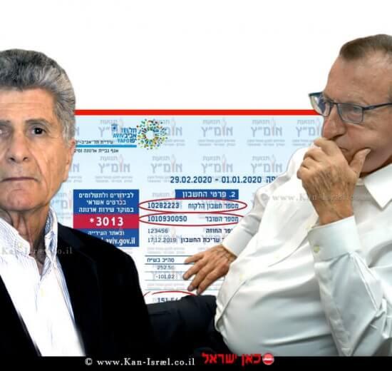 רון חולדאי ראש עיריית תל אביב-יפו בישיבת מועצת עירייה, משמאל יושב ראש תנועת אומץ מר פליצ'ה פנחס פלד ברקע: חשבון ארנונה | צילום: ויקיפדיה | עיבוד צילום: שולי סונגו ©
