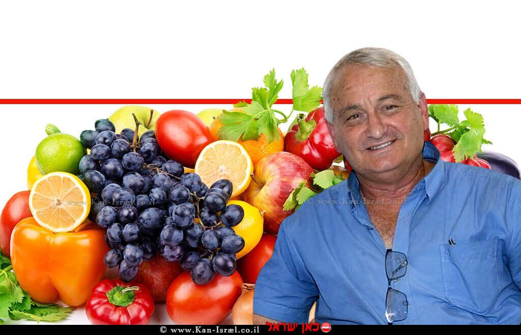 שר משרד החקלאות ופיתוח הכפר של ישראל חבר כנסת אלון שוסטר, ברקע: ירקות ופירות   עיבוד: שולי סונגו ©