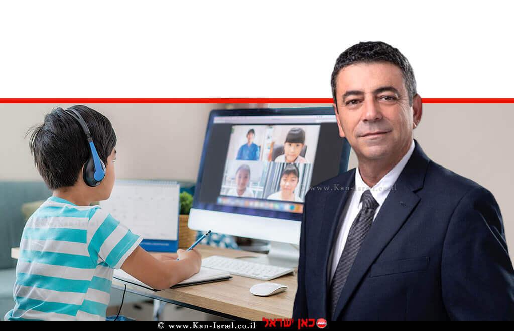 עמית אדרימנכל משרד החינוךברקע: תלמיד שלומד עם המורה באמצעות ועידת וידיאו בבית, למידה מרחוק במהלך מגיפת COVID-19 | עיבוד: שולי סונגו ©