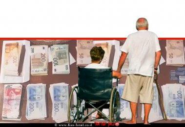זוג קשישים, | צילום: הדמייה, ברקע: שטרות הכסף הישראלי שנתפסו| צילום: דוברות המשטרה | עיבוד: שולי סונגו ©