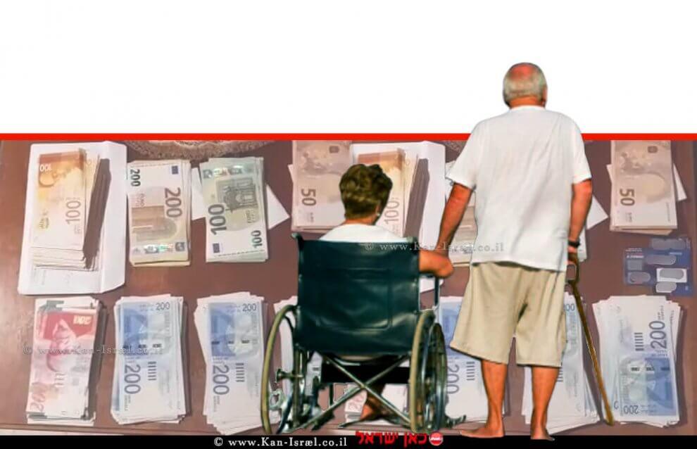 זוג קשישים,   צילום: הדמייה, ברקע: שטרות הכסף הישראלי שנתפסו  צילום: דוברות המשטרה   עיבוד: שולי סונגו ©