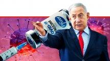 ראש הממשלה מר בנימין נתניהו ברקע: החיסון של חברת פייזר עליו חתמה מדינת ישראל ונגיף קורונה (COVID-19) | עיבוד: שולי סונגו ©
